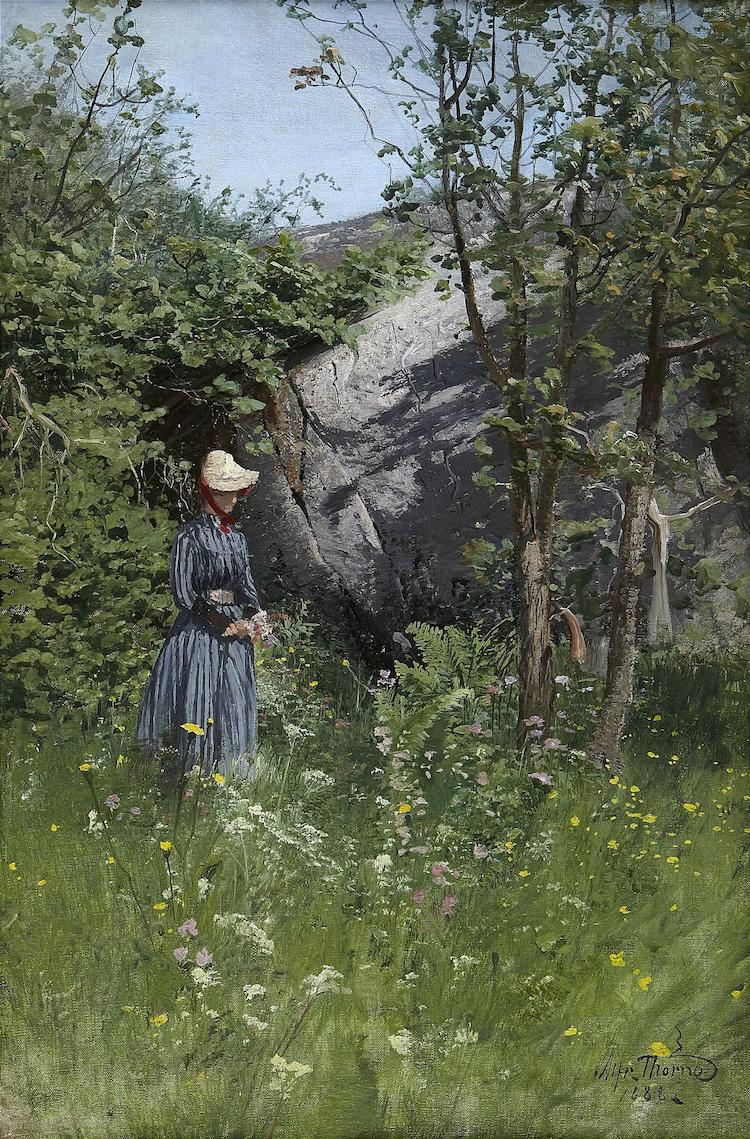 """Alfred Thörnes """"Kvinna som plockar midsommarbukett"""" är signerad ch daterad 1888. Målningen klubbades på Stockholms Auktionsverk 38 000 kronor"""