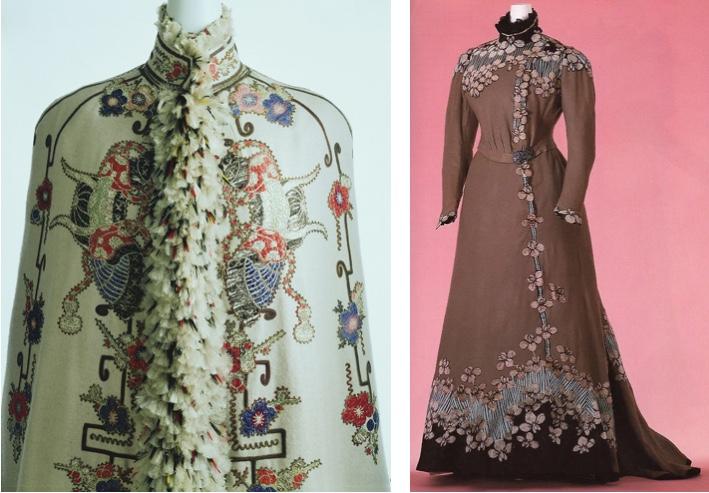 Links: Visite aus Frankreich mit Muster aus japanischen Samurai-Helmen und Kirschblüten, um 1890 Rechts: JACQUES DOUCET -Tageskleid mit Kirschblütenmuster, um 1897 Beide im Kyoto Costume Institute