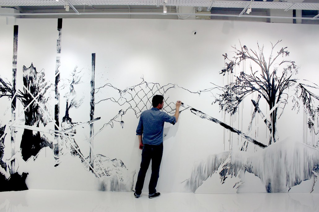 Abdelkader Benchamma, lauréat du Prix Drawing Now 2015 Representa on of Island/Universe, 2013 Encre sur papier, 87 x 68 cm © FL GALLERY