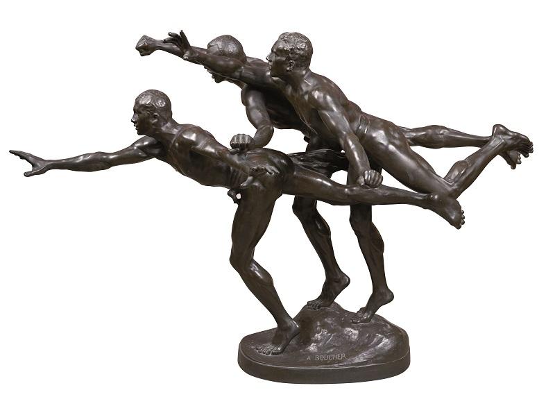 ALFRED BOUCHER. Au But. Escultura en bronce. Firmada. Fundición Siot París. Altura: 68 cm. (c.1930)