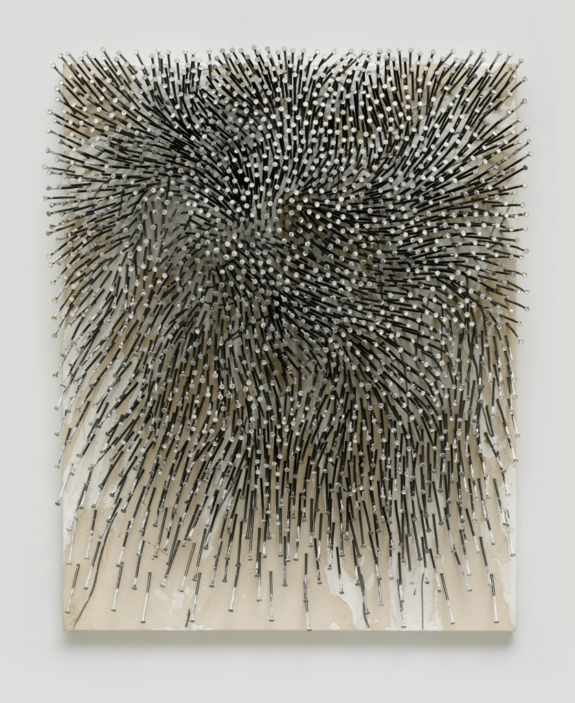 Günther Uecker, « Champ, clous, dispersion, graphite », 2012/13
