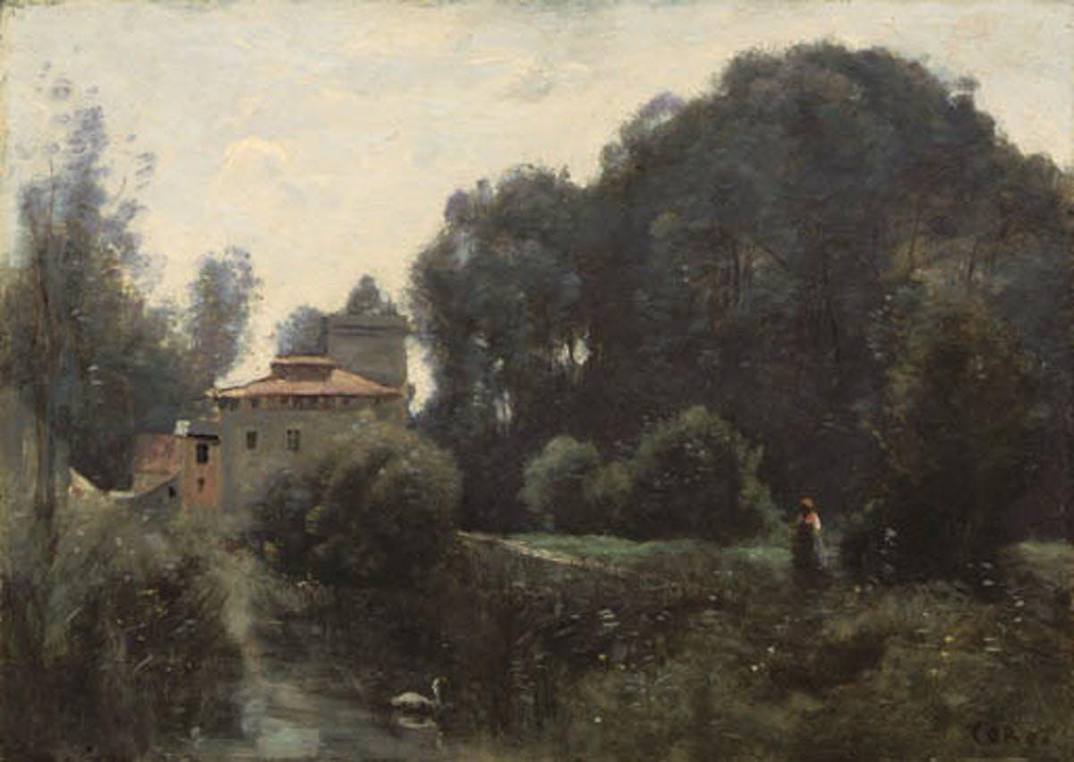 "JEAN-BAPTISTE COROT. ""Souvenir de la Villa Borghese"". Óleo sobre lienzo (c. 1855)."