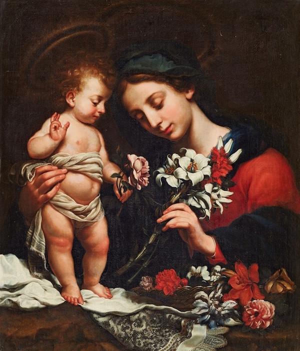Efter Carlo Dolci (1616 Florens - 1686 Florens). Jungfru Maria med Jesusbarnet och blomma, olja. 93 x 77,5 cm.