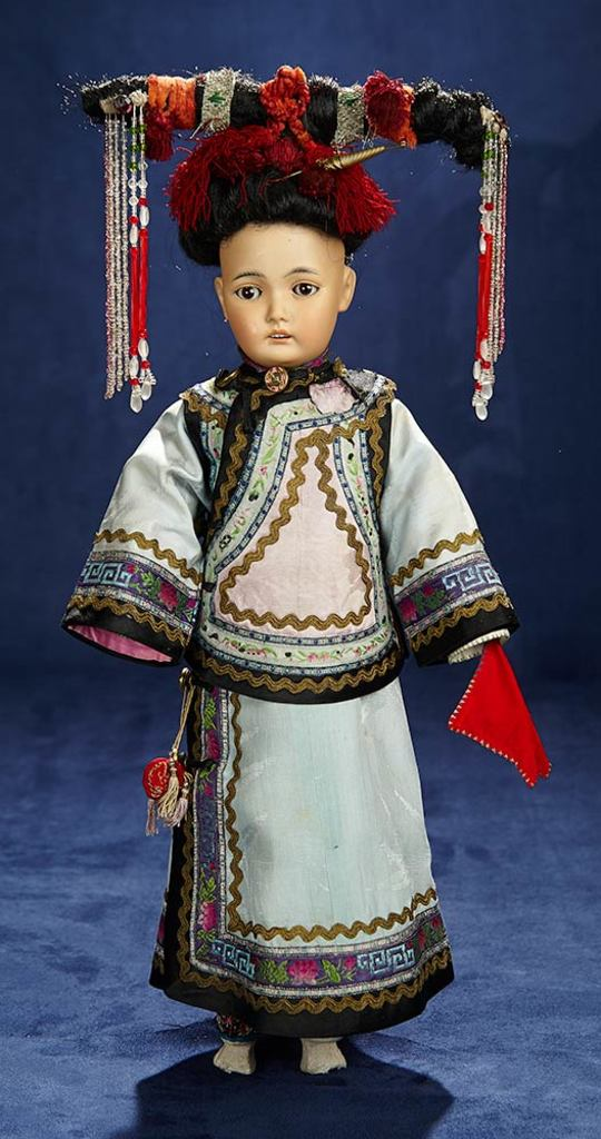 German Bisque Portrait of Asian Child, 164, Original Costume for the French Market