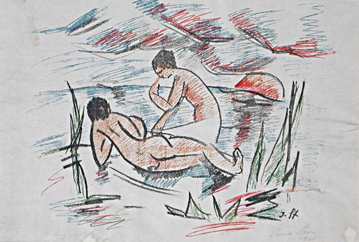 """Irmas frühe Arbeiten sind stark von den Werken Max Pechsteins beeinflusst: """"Badende"""" (1920)   Foto via irmastern.co.za"""