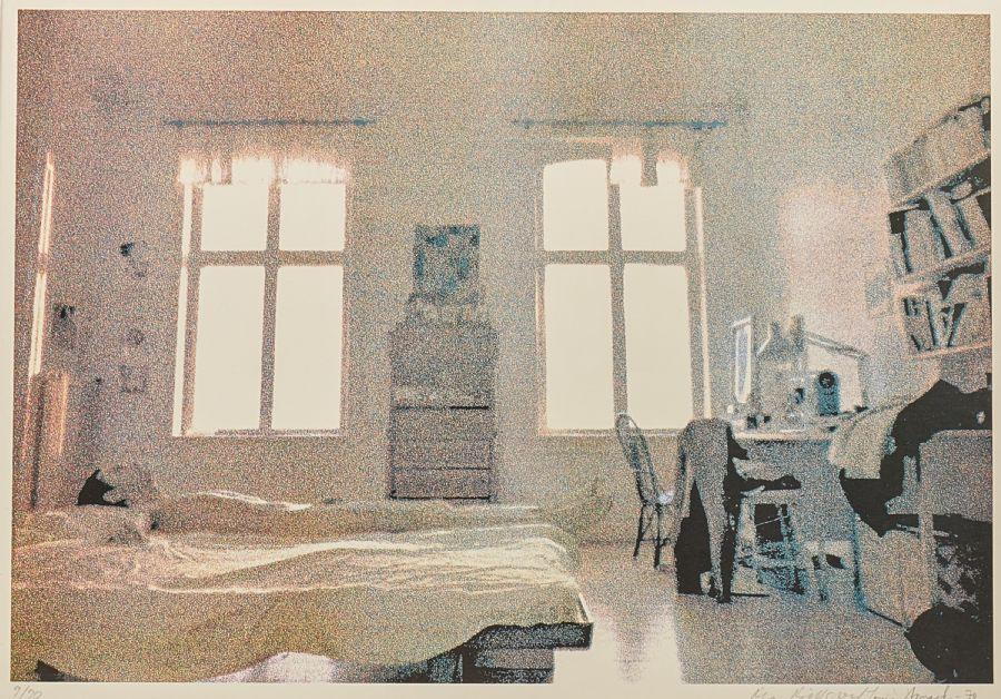 Ola Billgren / Louis Womak, Liggande man, 1970, 9/90, motivet: 39x57. Utrop: 2,000 Sek. Metropol Auktioner