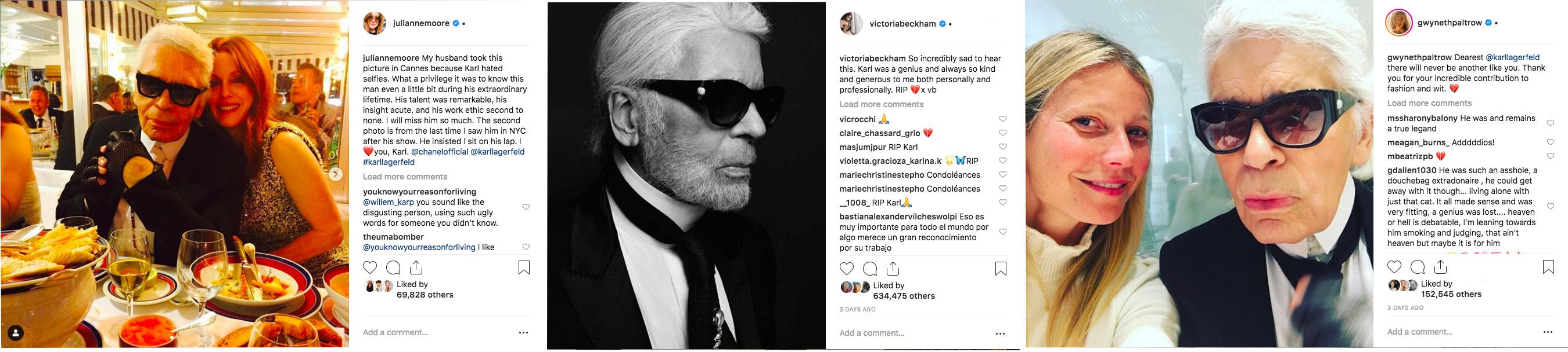 Des célébrités telles comme Julianne Moore, Victoria Beckham et Gwyneth Paltrow ont utilisé Instagram pour faire leurs adieux à Karl Lagerfeld, décédé le mardi 19 février 2019