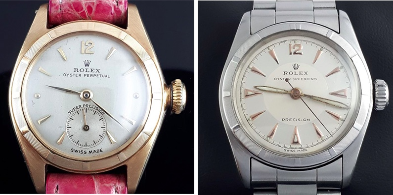 Links: Rolex Oyster Perpetual Bubble Back, Gelbgold, ca. 1947 Rechts: Rolex Oyster Speedking Precision, Stahl, 1950er Jahre