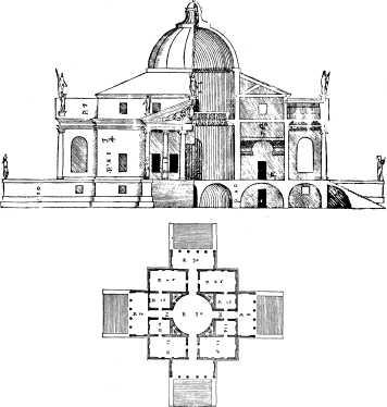 Palladios Plan der Villa Rotonda in seinem Werk über die Architektur, 1570 | Abb. via Wikipedia