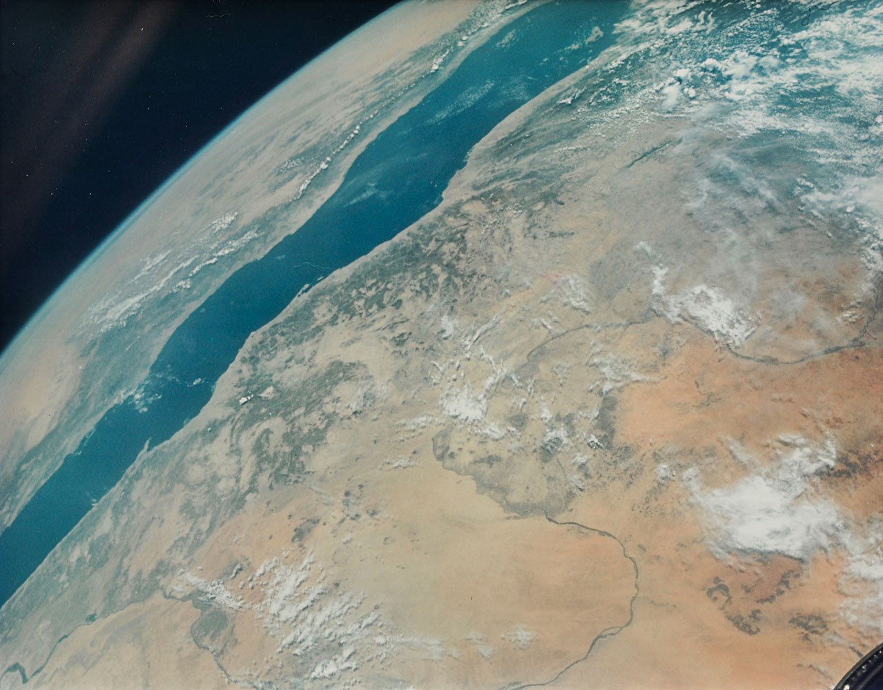Richard Gordon (American, b. 1929) The Nile River and the Red Sea from Space, Gemini 11, September 1966. Large-format vintage chromogenic print on fiber-based Kodak paper with 'A Kodak Paper' watermark on the verso
