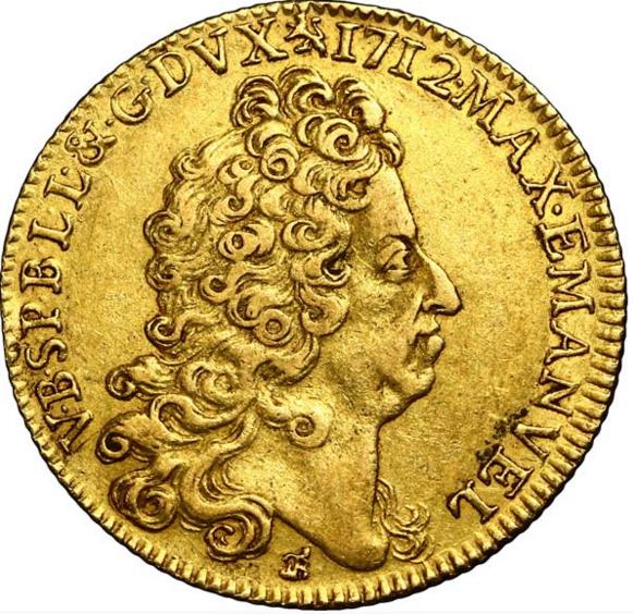 Belgique - Namur Maximilien- Emmanuel de Bavière  Double Souverain d'or 1712 Namur