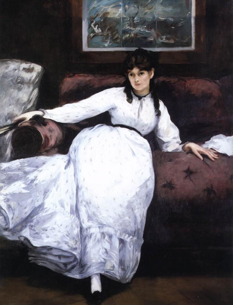 ÉDOUARD MANET (1832-1883) - Portrait von Berthe Morisot, 1870 Image via artvent-artventures.blogspot.com