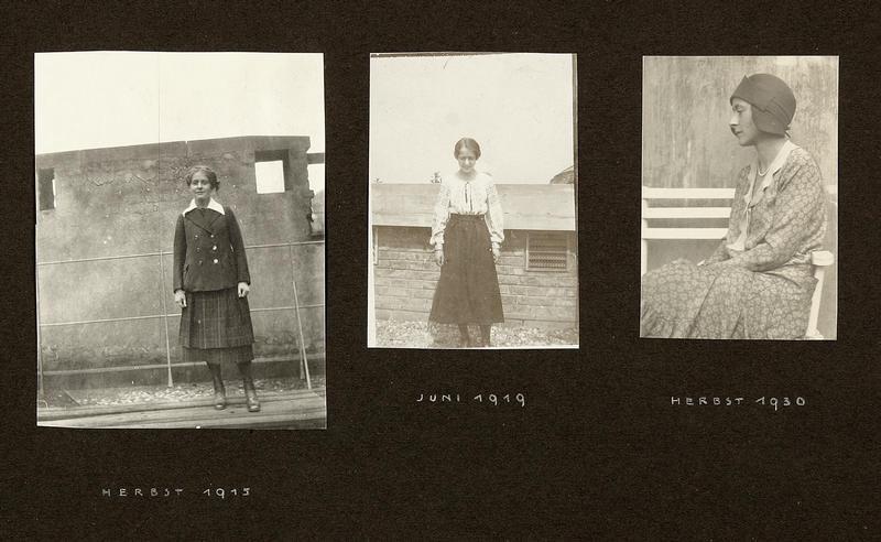 Seite aus einem Fotoalbum mit drei Aufnahmen von Lucie Rie, 1910-30er Jahre | Foto via vads.ac.uk