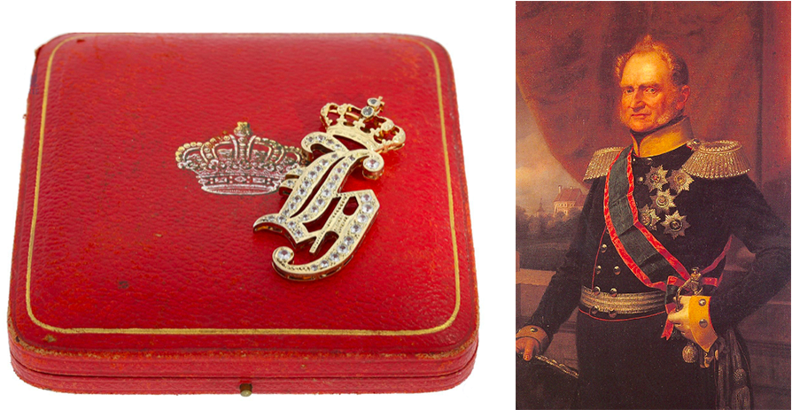 Gauche : Broche, cadeau du duc Heinrich d'Anhalt-Köthen avec son étui d'origine, image © Cortrie   Droite : Portrait du duc Heinrich d'Anhalt-Köthen (1830-1847), image via Wikipedia