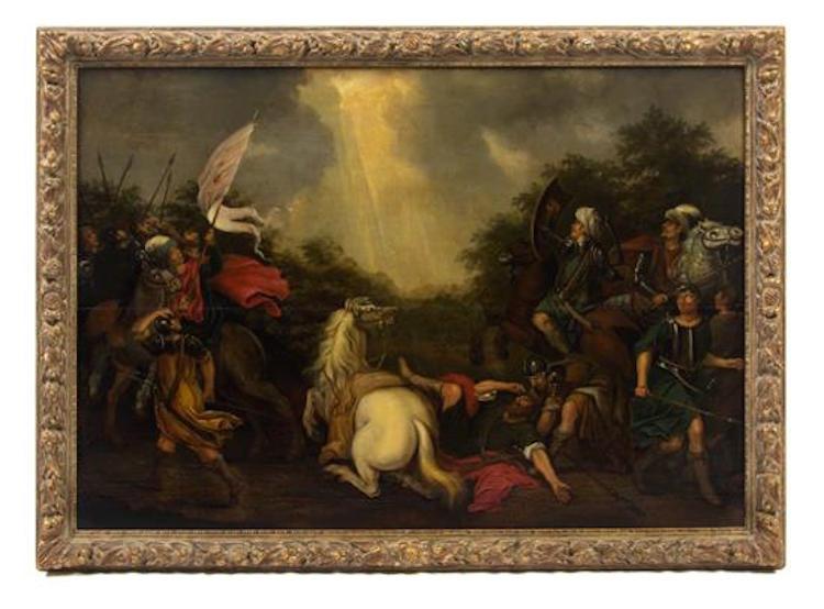Artist Unknown. Battle Scene. Estimate $600-$800. Photo via Leslie Hindman Auctioneers