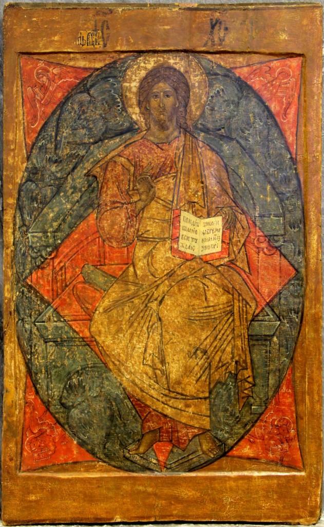 """Monumentale Ikone """"Christus der Allherrscher auf dem Thron"""", Eitempera auf Kreidegrund. Größe: 67,5 x 109,5 cm, Russland 17. Jh. Mindestpreis: 22.000 EUR"""