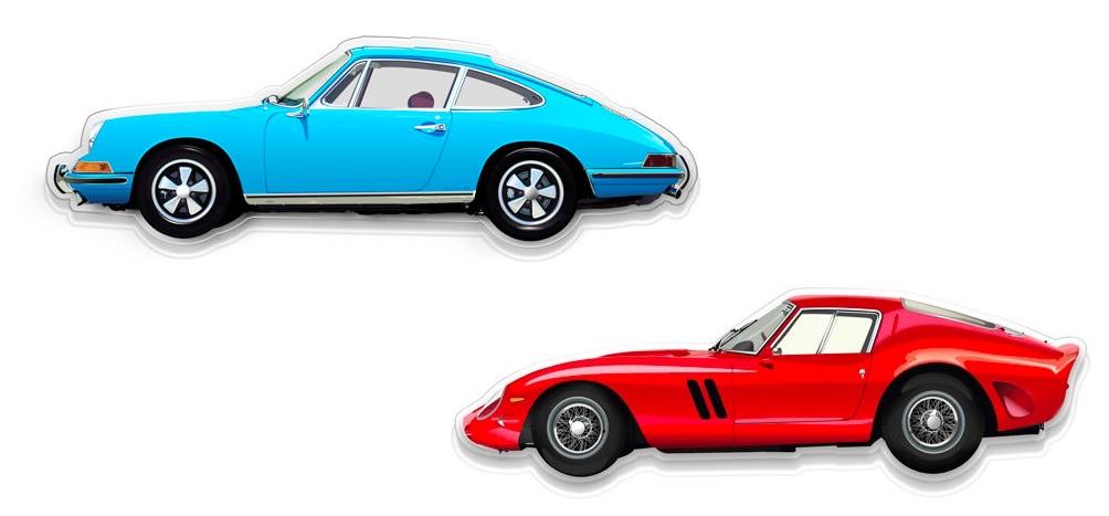 Oben: HALMO Porsche 911S Wanddekoration Unten: HALMO Ferrari 250 GTO Wanddekoration