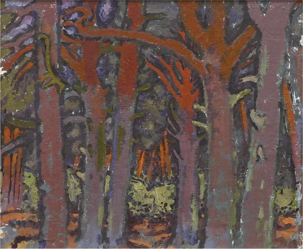 OTTO MANIGK (1902 Breslau-1972 Ückeritz /Usedom) - Rote Kiefernstämme, Öl/Holz
