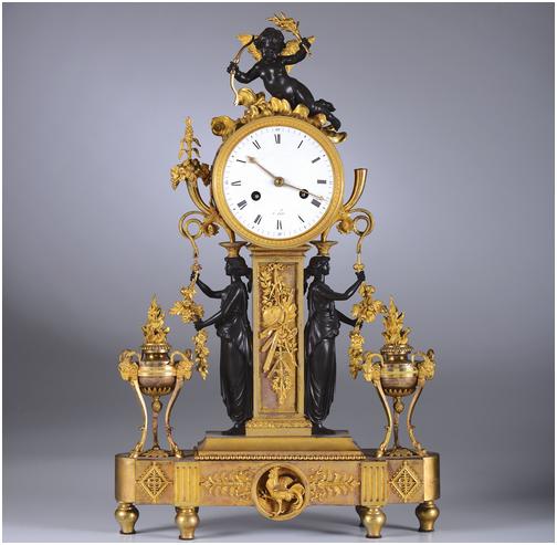 Pendüle aus teilweise vergoldeter Bronze, 37 x 11 x 57, Philippe Thomire, Frankreich 18.-19. Jh. Schätzpreis: 8.000-10.000 EUR