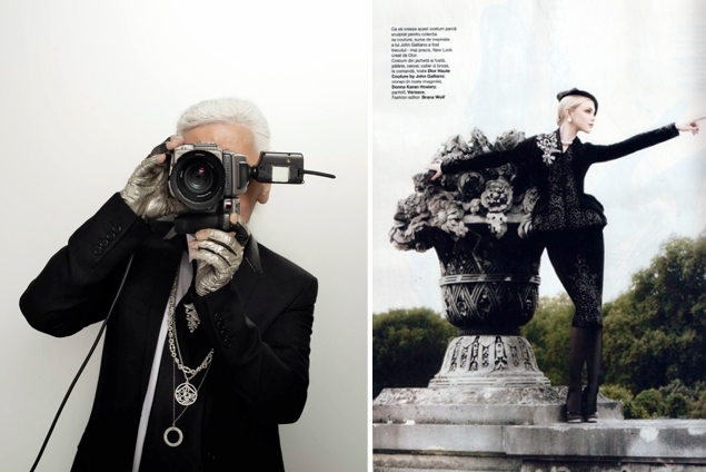 Karl Lagerfeld behind the camera. Image: Fashion & Power