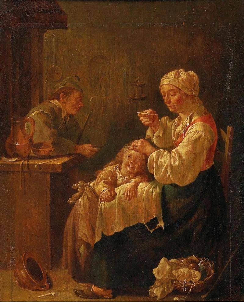 JACOB DUCK. Una Madre y un Niño en un interior. Firmado (1650/55)