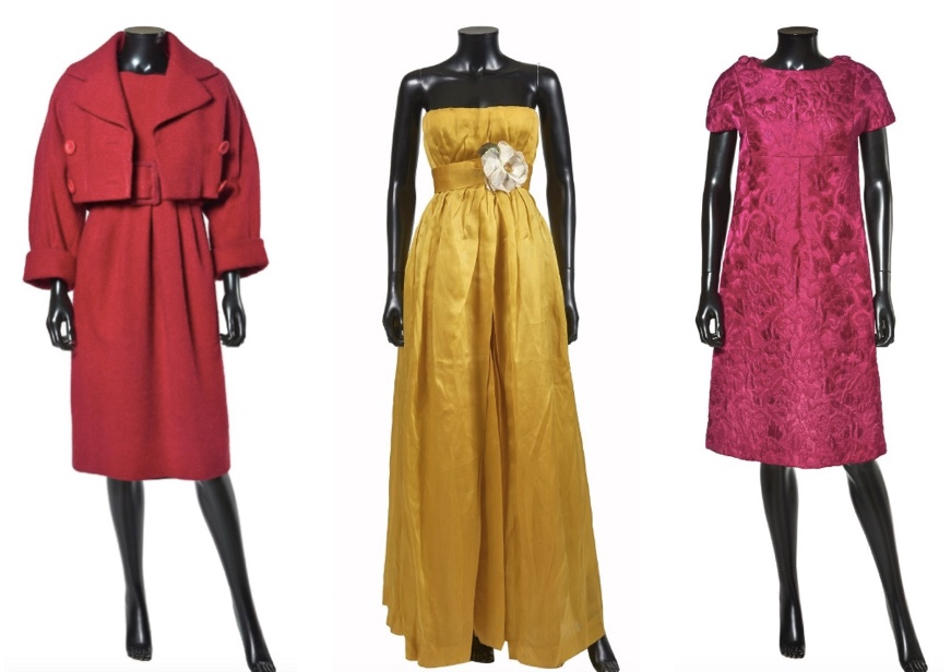 "Yves Saint Laurent für CHRISTIAN DIOR Links: Kostüm ""Djebel"", 1959 Mitte: Abendkleid aus goldener Seide, ca. 1959 Rechts: Kleid ""Tokyo"", ca. 1960 Artcurial"