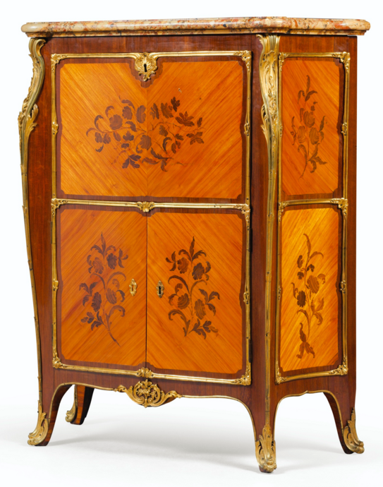 Rosewood veneer, satin, amaranth, marquetry and ormolu mounts of the end of Louis XV, stamped JOSEPH, 1770