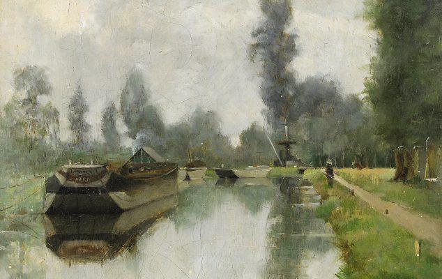 Julia Beck, Vid kanalen, Grez. 1883. Foto: Stockholms Auktionsverk. Bild beskuren.