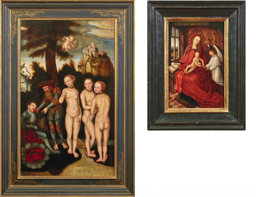Links: LUCAS CRANACH D. Ä. (1472 Kronach -1553 Weimar) Umkreis - Das Urteil des Paris, Öl/Holz, Anfang 16. Jh. Rechts: Kopie nach HANS MEMLING (1433/40 Seligenstadt - 1494 Brügge) - Madonna mit Kind und Engel, Öl/Holz, 18./19. Jh.