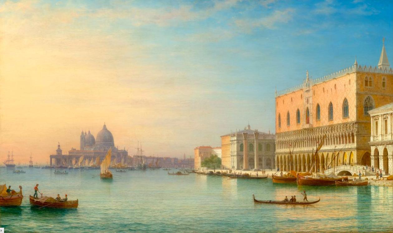 Carl Morgenstern, Venise surplombant le palais des Doges et Santa Maria della Salute, huile sur toile, signée et datée 1863, image ©Koller