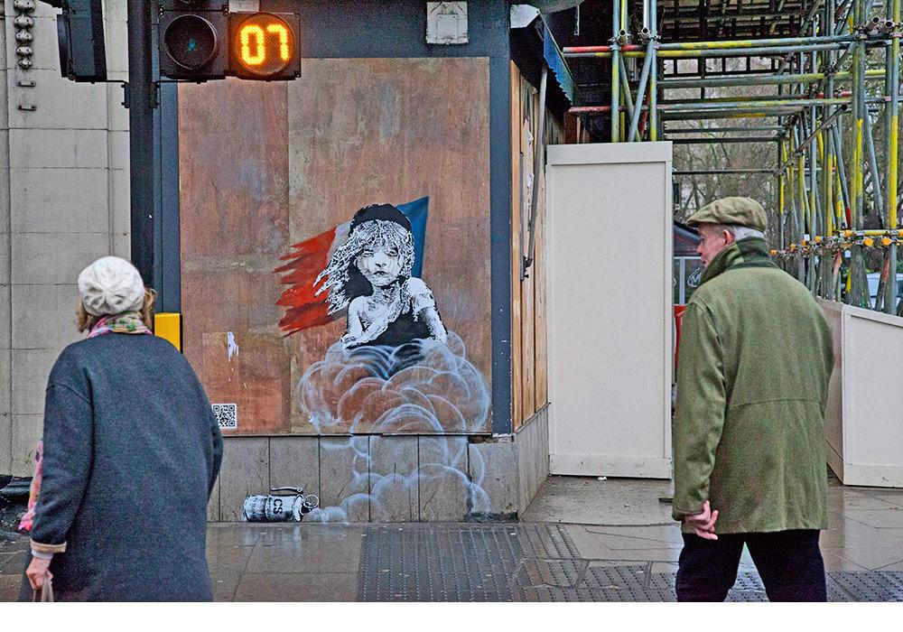 Banksy's latest work, opposite the French Embassy, Knightsbridge Image via the artist's website