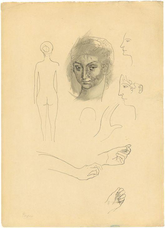 Pablo Picasso, Page d'album, 'Études', 1904, ink pen and paper. Photo: Grisebach