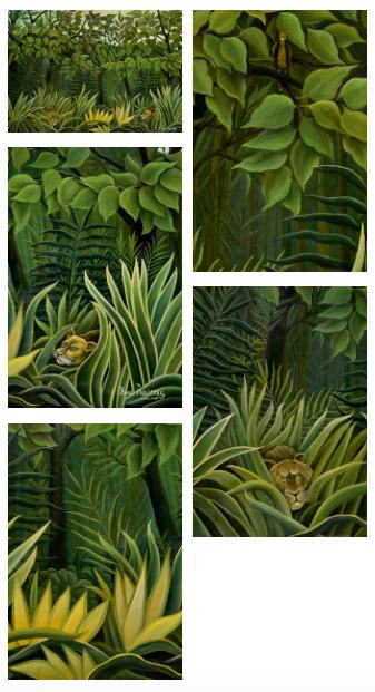 Henri Rousseau, Deaux lions a l'affut dans la jungle, circa 1909-1910