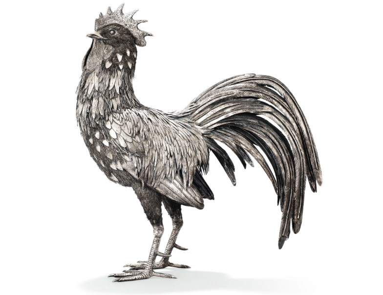Great silver cockerel by Buccellati, Milan, circa 1970