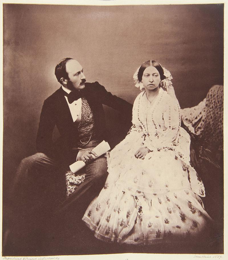 Albert von Sachsen-Coburg und Gotha (1819-1861) mit Gattin Queen Victoria und sichtbar über der Weste getragener Uhrkette - allerdings ohne den nach ihm benannten Anhänger