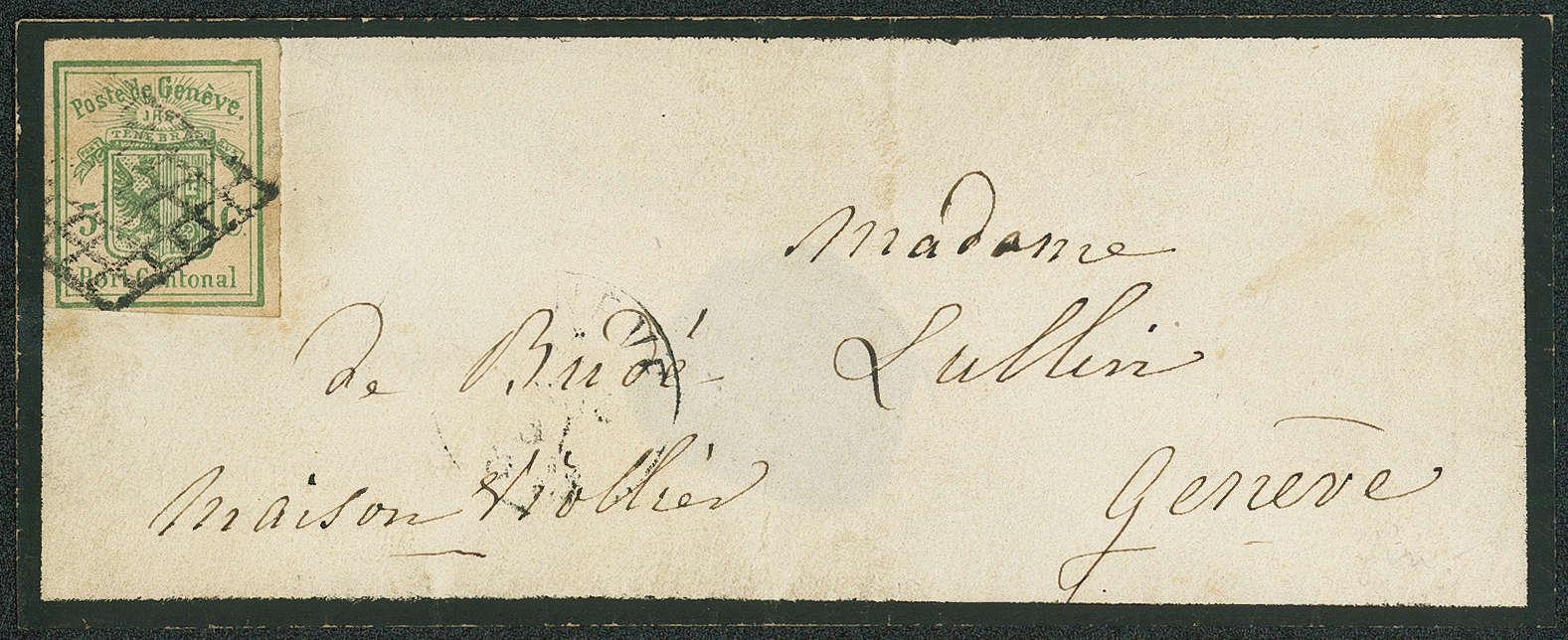Schweizer Kantone Genf - Trauerbrief mit Genfer 5 Rappen-Marke, gestempelt mit schwarzer Genfer Gitterraute, 1851