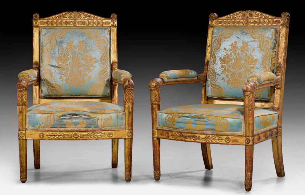 """Ett par fåtöljer """"Aux Palmettes"""", förgyllda, Paris ca 1810/13. På auktion hos Koller"""