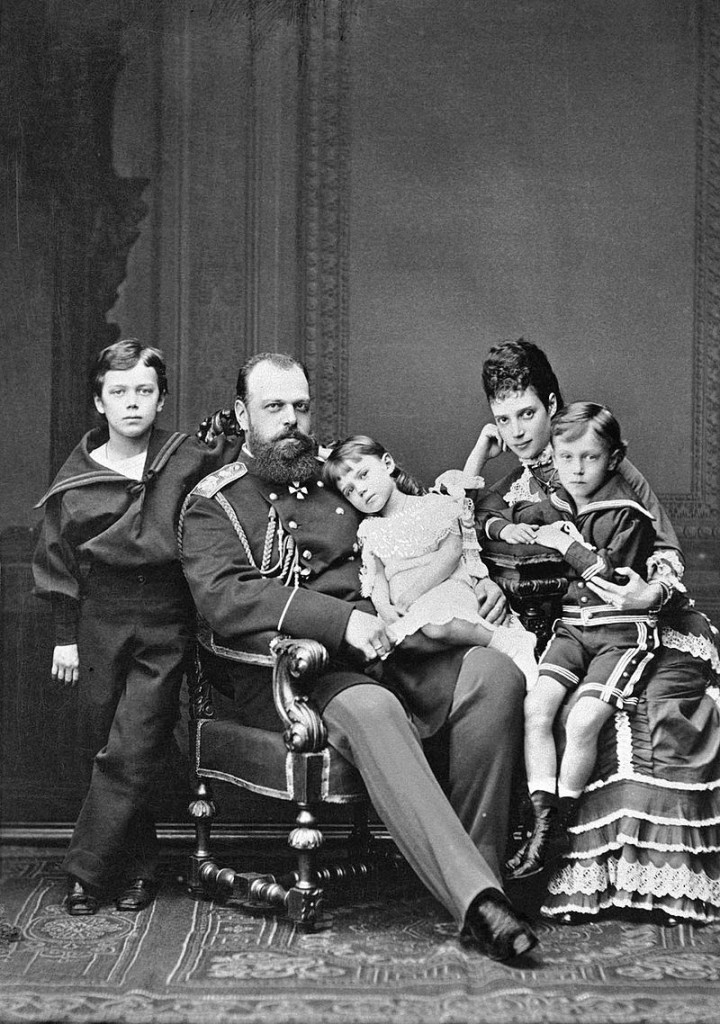 Tsar Alexander III, Tsarina Maria Fyodorovna and their children Nicholas, Xenia and Georgi, 1878