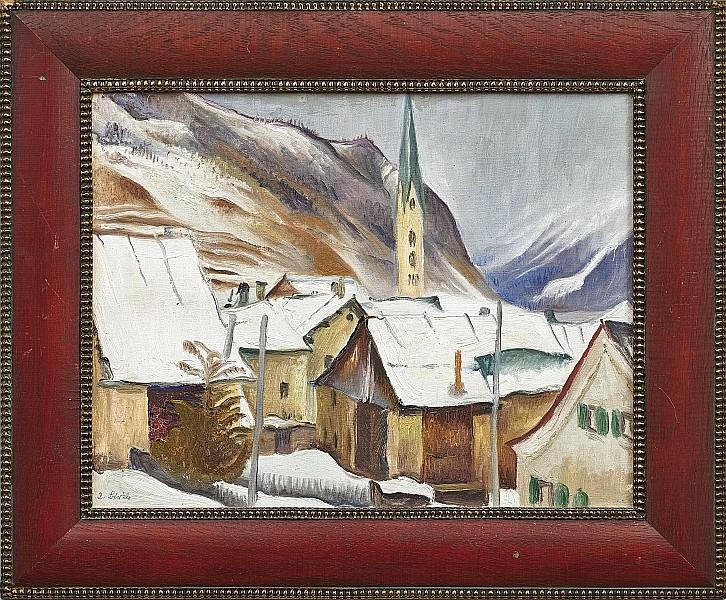 ALBERT BIRKLE (Berlin 1900-1986 Salzburg) - Blick auf Kaprun im Winter, Öl/Karton, 36 x 45,5 cm, signiert und datiert, 1930 Schätzpreis: 10.000 EUR