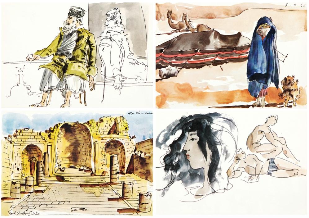 HANS ERNI (1909 Luzern 2015) - The Israel Sketchbook, Mappenwerk, Edition Berton Cantor, Genf, 1968, handsigniert