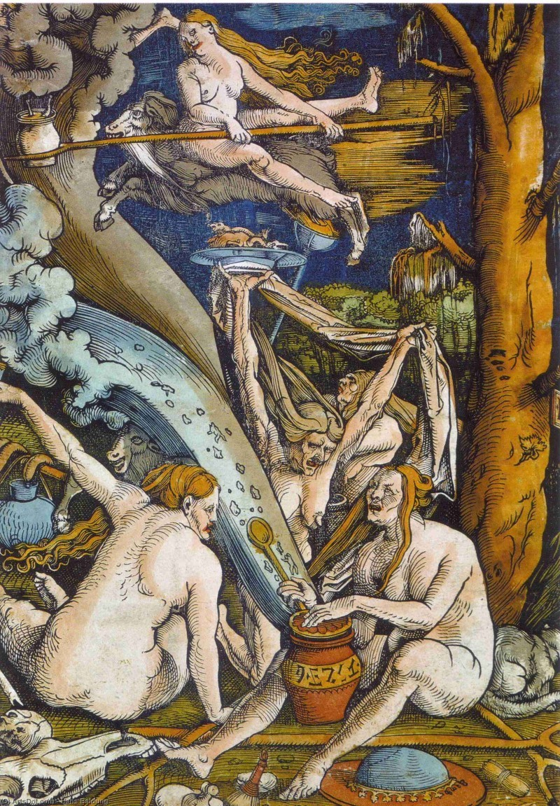 """""""Witches"""" by Hans Baldung."""