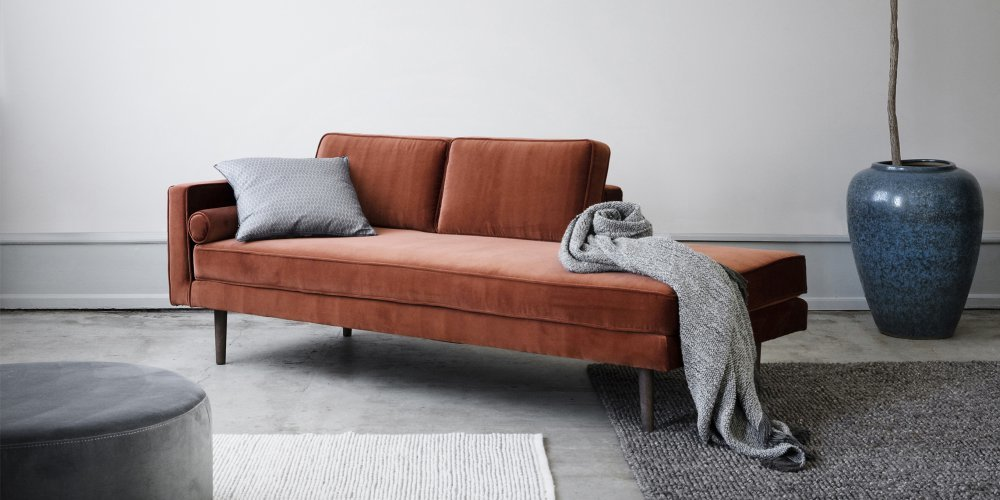 Velvet terracotta Sofa. Photo: Marie Claire