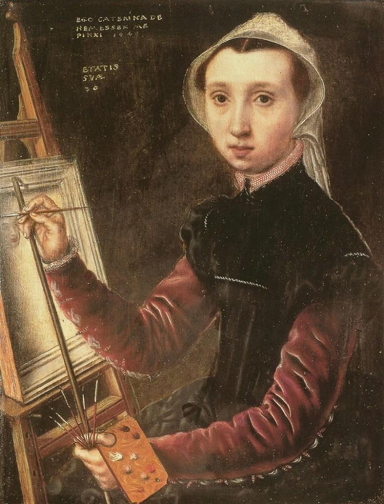 Der flämischen Malerin Catarina van Hemessen verdanken wir das erste Selbstbildnis eines Malers von seiner Staffelei. Gemalt hat sie es 1548 | Abb. via Wikipedia