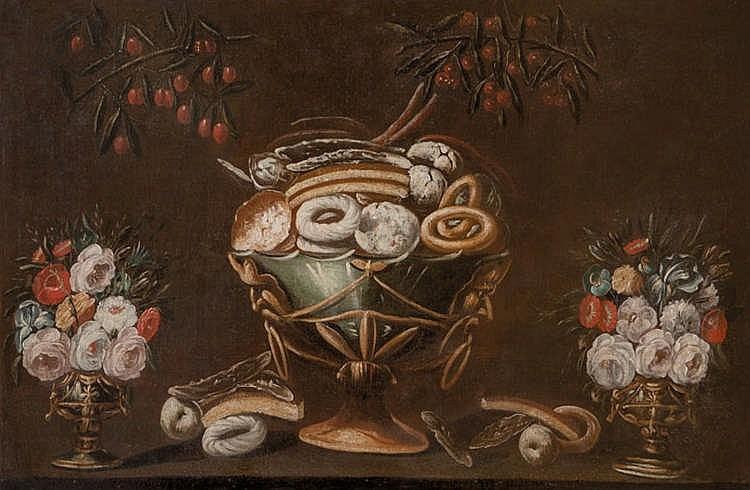ESCUELA VALENCIANA. Bodegón con dulces, ramas de cereza y dos floreros (s. XVII)