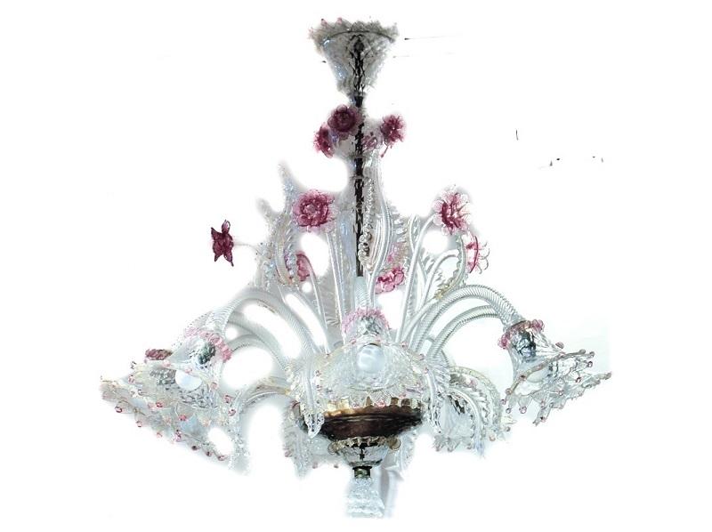 Lámpara de techo realizada en cristal de Murano con decoración floral y hojas