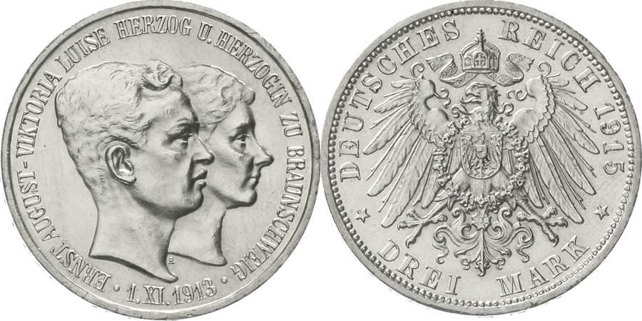 Braunschweig Ernst August 3 Mark 1915. Neben Ernst August zu sehen ist seine Gemahlin, Kaisertochter Viktoria Luise, mit der er seit 1913 verheiratet war.