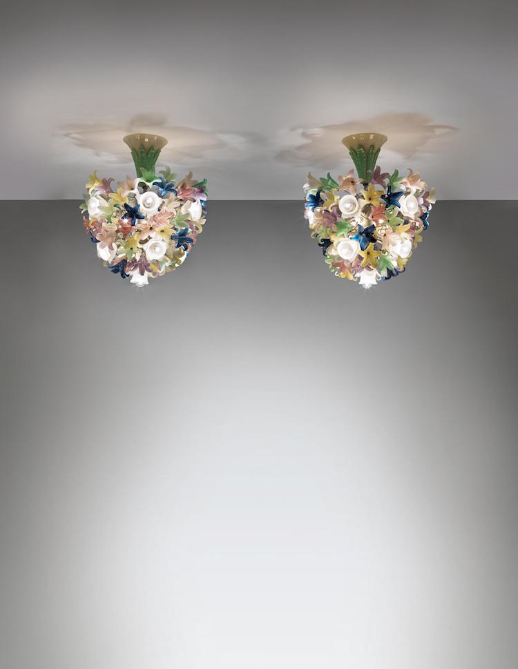 BAROVIER & TOSO (CO.). Pair of chandeliers, 1950s. Estimate $16,000 - $24,000. Photo via Phillips