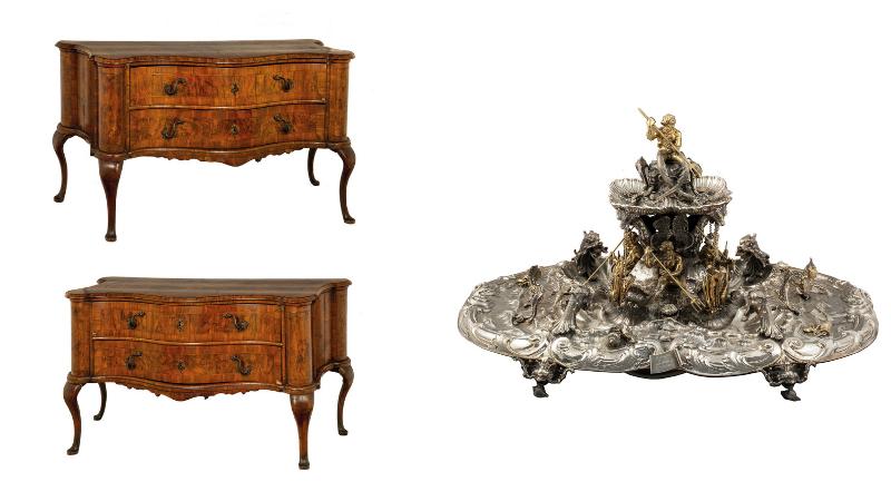 Gauche: rare commode en placage de noyer / Droite : fontaine centre de table en argent, 1890, images ©Della Rocca