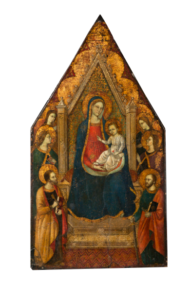 Galerie Alexandre Piatti Primitif italien à fond d'or, La Vierge et l'Enfant sur un trône, 44 cm x 24 cm, Tempera sur bois, École Toscane XIVe siècle