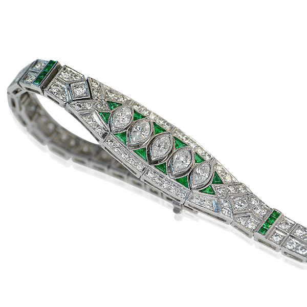 Platinarmband mit Diamanten und Smaragden